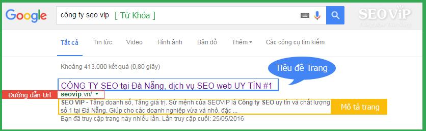 Kết quả seo trang đích google