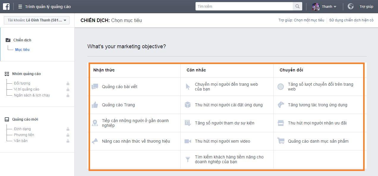 Các loại quảng cáo Facebook