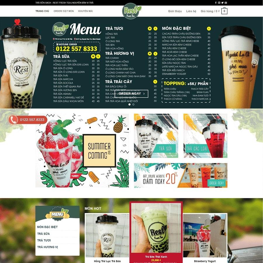 thiết kế website trà sữa, cafe đẹp mắt, dễ sử dụng để thu hút khách hàng